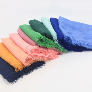 Soft Long Muslim Frayed Crepe Premium Cotton Plain Hijab Scarf Women solid bubble scarves and Shawls Oversize Islamic Head Wraps Blanket