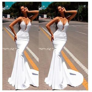 Vestidos De Casamento De Sereia Branca Sheer Pescoço Apliques Com Beading Lantejoulas Abendkleider Vestido De Noiva Varredura Trem Vermelho Tapete Vestido