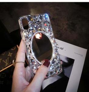 라인 석 거울 iphoneX 휴대 전화 쉘 여성 oppo 성격 크리 에이 티브 diy 새로운 생체 럭셔리 럭셔리 그물 전체 다이아몬드를 적용
