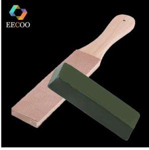 EECOO Conjunto de Afiador de facas De Madeira Lidar Com Alças De Couro Strop Handmade Lâminas De Polimento Placa De Polimento E Cera De Couro De Polimento