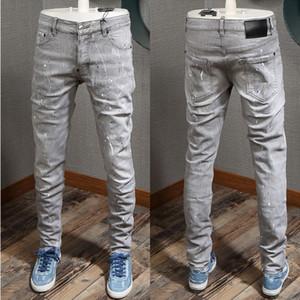 Coole Männer Farben bemalt Beschädigt Grau Farbe Jeans Skater Fit abgenutzte Vintage-dünner Sitz-Leg Denim