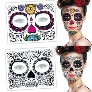 Dia Maquiagem Facial Etiqueta especial face à prova d'água tatuagem da tatuagem temporária crânio inoperante Vestido Face Up Halloween Stickers