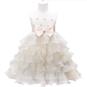 Kind-Mädchen-Bogen-Kleid-Baby-Mädchen-Abschlussball-Kleidung der Prinzessin-Hochzeit Kleid-Blumen-Mädchen Netz-Spitze-Rock-Sommer 19