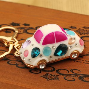 Designer Car Keychain Korean Creative Gift Cute Crystal Beetle Car Key Chain Female Bag Pendant Key Chain Crystal Small Jewelry