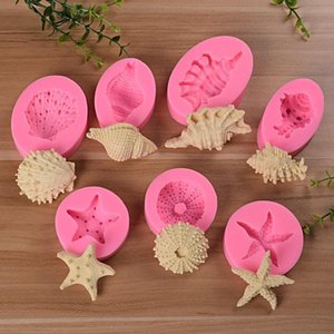 New Hot Marine Series Pearl Conch Starfish Shells Shellfish Silicone Mold Seven kinds Marine Felly Cake Baking Mold Candle Soap