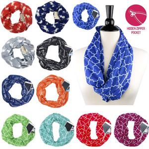 Sciarpa delle donne sciarpe di infinito con tasca con cerniera leggero freccia stella alce stampa anello sciarpe sciarpe stoccaggio bavaglino regalo di natale WX9-1134