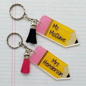 pompon Monogramme acrylique crayon de jour des enseignants porte-clés Journée des enseignants Keychain Mode acrylique Crayon avec de petits porte-clés Personnaliser