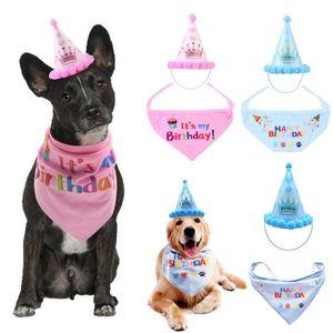 Pet Dog Birthday Hat Saliva toalha para Cães Gatos Headwear Caps Hat Costume Party Headwear para animais de estimação Feliz Aniversário Combinação 1Set = 2pcs
