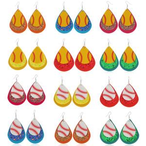 Мода водослива Кожа PU серьги Три слоя блесток Baseball серьги мотаться Шарм Подвеска Ear Hook Eardrop Женщины дизайнер ювелирные подарки