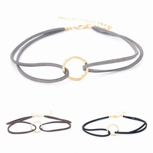 Velvet Leather Pendant Necklace Choker Women 2019 Jewelery Women Neck Strip Chains Sexy Metal Circle Locks Chains