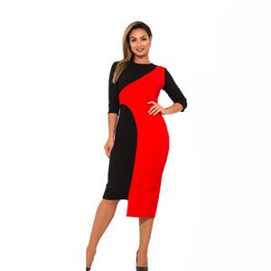 2019 Nouveau Designer Dress Femmes O Cou Vestidos D'été Surdimensionné Plus La Taille 6xl Patchwork Couleur Robes Casual Cadeau Femme Casual Y190426