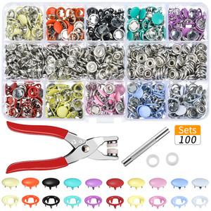 Hoomall 100pcs / Sets 10 cores metal costura Botões botões de pressão costura Craft Fastener Alicate Artesanato Ferramenta botões para roupas