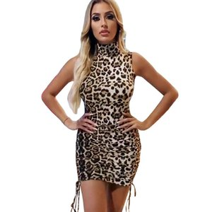 Sexy Ladies leopardo Abito corto collo alto senza maniche Cheetah stampa bodycon Slim Flapper Night Club Partito caldo di vendita dei mini vestiti