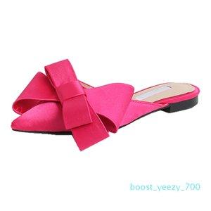 Pointed Toe Slippers Women Flat Mules Women Shoes Bow Tie Slippers BaotouFlat heel Sets Semi b70