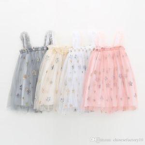 INS Baby Girls Tutu Dresses Kids Sling Lentejuelas Falda de estrella Nueva fiesta de verano Elegante Color sólido Falda de gasa de encaje agárico 4 colores