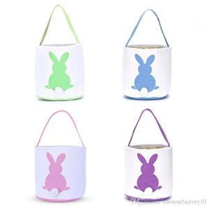 INS Burlap Easter Bunny Baskets DIY Rabbit Bags Bunny Storage Bag Jute Rabbit Ears Bucket Easter Gift Bag Rabbit Ears