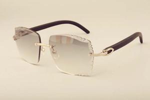 Nova fábrica óculos de sol de moda de luxo direta 3524014 óculos de sol de madeira lentes naturais gravura preto, costume privada, gravado