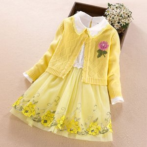 Children's Clothing sets for girls cotton cardigan sweater coat+dress 2020 New Autumn Winter Kids girl princess Clothes 3-11Year
