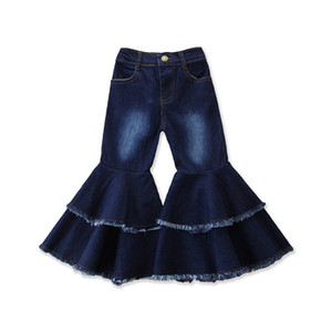 Children Denim Flared Pants Baby Girls Flare Blue Denim Trousers Spring Autumn Long Pant Kids Girl Designer Clothes