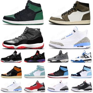 2020 Bred 11s mens Basketball Shoes 1 1s Pine Green UNC Travis Scotts 4s Cactus Jack 5s Fire Red trainer sports sneakers
