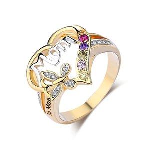 New Mulheres Moda Heart-shaped amor anel mãe Two Tone Gold Silver MOM Diamante Character Jóias família aniversário O melhor presente para mãe Mummy P