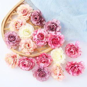 10 pçs / lote Artificial Flor De Seda Rosa Cabeça de Casamento Casa Decoração Do Partido DIY Cocar Garland Caixa de Presente Ofício Flor Falsa