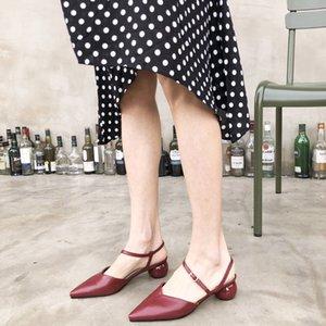Hot Sale-2019 Im Sommer Rom Flacher Mund Scharfe Back Air Sandalen Runde Mit Ol Baotou Niedrige Hilfe Einzelnen Schuh