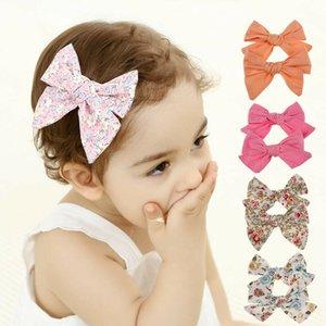 2Pcs Teens Big Hair Pin Cute Princess Bows Knot Hair Clips Girls Kids Toddler Floral Cotton Headband Sets Party Headwear