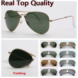 lunettes de soleil lunettes de soleil pliantes pilotes de qualité supérieure lunettes de soleil de marque aviation hommes femmes lunettes de soleil avec le pliage en forme étui en cuir, boîte!