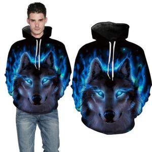 Мужская мода толстовки 3D Wolf Animal Print пуловер с капюшоном Top Теплый Повседневный фуфайки Hoodie Осень Зима Мужчины Outwear Размер S-3XL