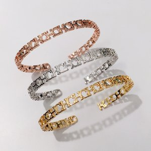 venda quente 18K jóias banhado a ouro Exquisite moda estreitar estreita brilhante CHC letra C forma pulseira aberta pulsera pulseira de ouro fino de jóias