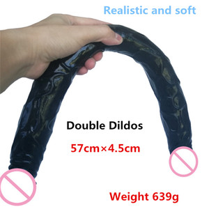 Big Realistic Double Dildo Flexible Soft Silicone Huge Dual dong anal dildo For Lesbian Fake dick Penis adult Sex toys for Women T200704