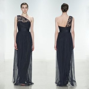 2020 New Arrival Lace Vestidos dama de honra barato de um ombro plissado Prom Vestidos Andar de comprimento Tulle vestido longo Evening