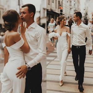 2019 Moda Vestidos De Casamento Mulheres Jumpsuits Custom Made Off Ombro De Cetim Vestidos de Noiva Plus Size Vestido De Noiva Da Praia Barato