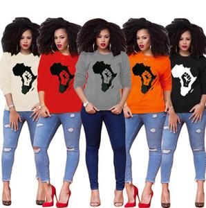 Mapa de las mujeres Impreso camiseta sudaderas con capucha del invierno del otoño largo de la manga del suéter del patrón Mapas Sudaderas niñas Pullover Camiseta tapas de la blusa 5 Color D8403