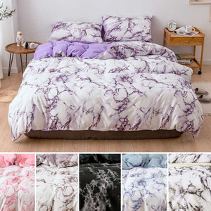 رخامي نمط الأغطية Sets لحاف Set 2 / 3PCS Single Queen King Size Comment Sets Bed Quilt Cover Flat Sheet Pillowcads