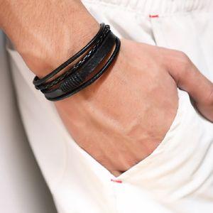 Art und Weise flocht Schwarz Braun Ledermens Charm Armband Handgemachte Design-Hip Hop Schmuck Punkarmbänder für Männer Geschenk