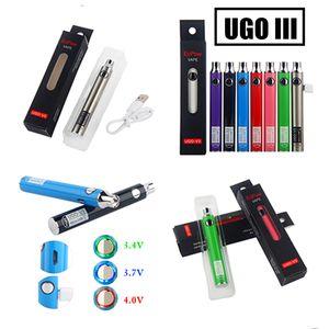 Original 650mAh 900mAh UGO V3 Vape Pen Batterry Preheating Batteries Empty UGO with Charger Packaging ugo-v3 510 Thread Cartridge Vaporizer