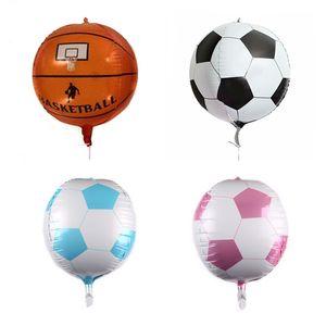 Yüksek Kalite 22inch 4D Futbol Basketbol Folyo Balon Doğdun Partisi Dekoru Çocuk Şişme Oyuncaklar Futbol Fan DIY Dekorasyon Hediye