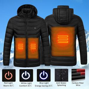 S-4XL USB Escudo eléctricos calefactables chaquetas para hombre de algodón de Down mujeres del invierno al aire libre Calefacción chaqueta con capucha de Esquí Ropa térmica caliente