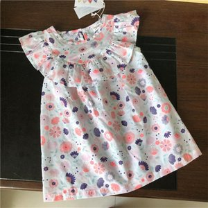 Vintage ruffles lace sleeve kids beach dress summer cotton linen infant baby costumes toddler girls bohemian style clothing
