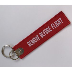 Remove before flight woven key chain 13X2.8CM with metal key ring custom key tag as Customized design free shipping