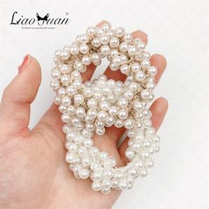 Femme élégante perle Cravates cheveux Perles filles Chouchous Elastiques Accessoires cheveux Porte-queue de cheval doux bande élastique cheveux Scrunchy D62307