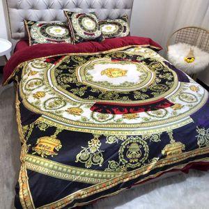 HIVER Worm luxe royale marque d'impression design français Italie Marque Toison Velvet 5 pièces Literie Or Noir Housse de couette Sets / feuille / taie