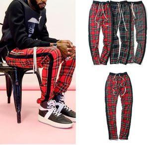 Calle de la vendimia alta de la tela escocesa del basculador pantalones temor de Dios rayas pantalones para los hombres FOG Slim Fit lápiz de los pantalones para hombre marca Hip Hop Streetwear mujeres