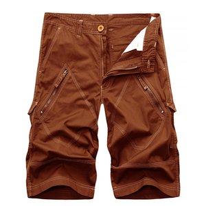 ICPANS Pantalones Cortos de Hombre de Verano de Algodón Con Cremallera Bermudas Casua Shorts Homme Ejército Verde Pantalones Cortos Tácticos 29 -40