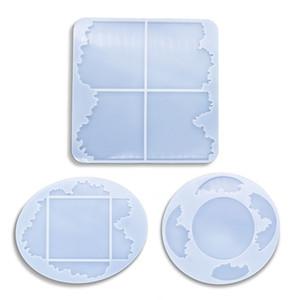 Silikon Kalıplar Epoksi Reçine Kalıplar Coaster DIY Geode Altlıkları Kalıp Yuvarlak Oval Kare Irregualr Mat Ev Dekorasyon
