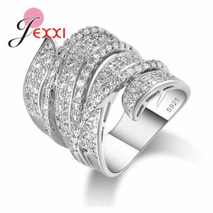 925 Sterling Silver Wedding Bands Rings For Women Clear CZ Austrian Crystal Inlay Pave Jewelry For Ladies Mens Party Gifts