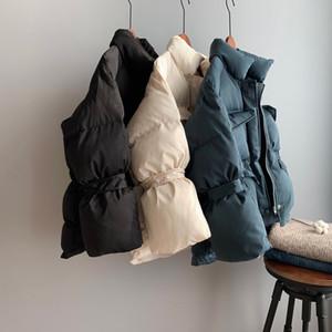 Девочка одежда Casual Короткие пальто хлопка с длинным рукавом Сыпучие Плюшевые Puffy зима Parka Женщины Толстый Стенд Воротник белый Parka Jacket