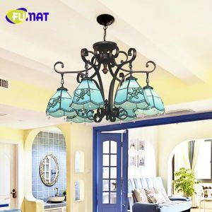 FUMAT Tiffany Style Européen Bleu Shade Pendant Lampes LED Lampe Art Vitrail Shade Salon Chaud Verre Pendentif Lumières